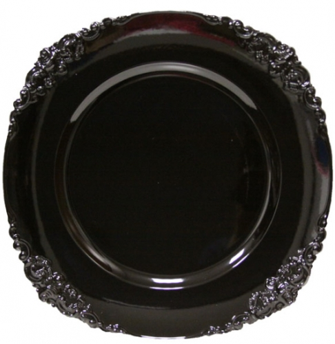 Black Baroque Charger Plate