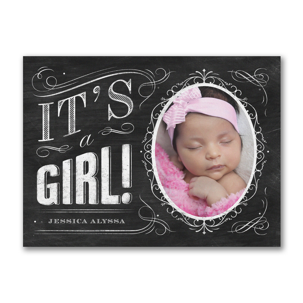Baby announcement invitation for girl