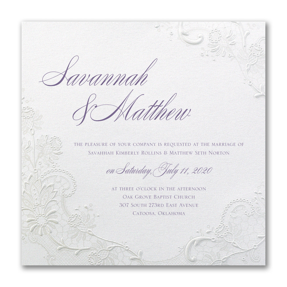 Wedding invitation with shimmer