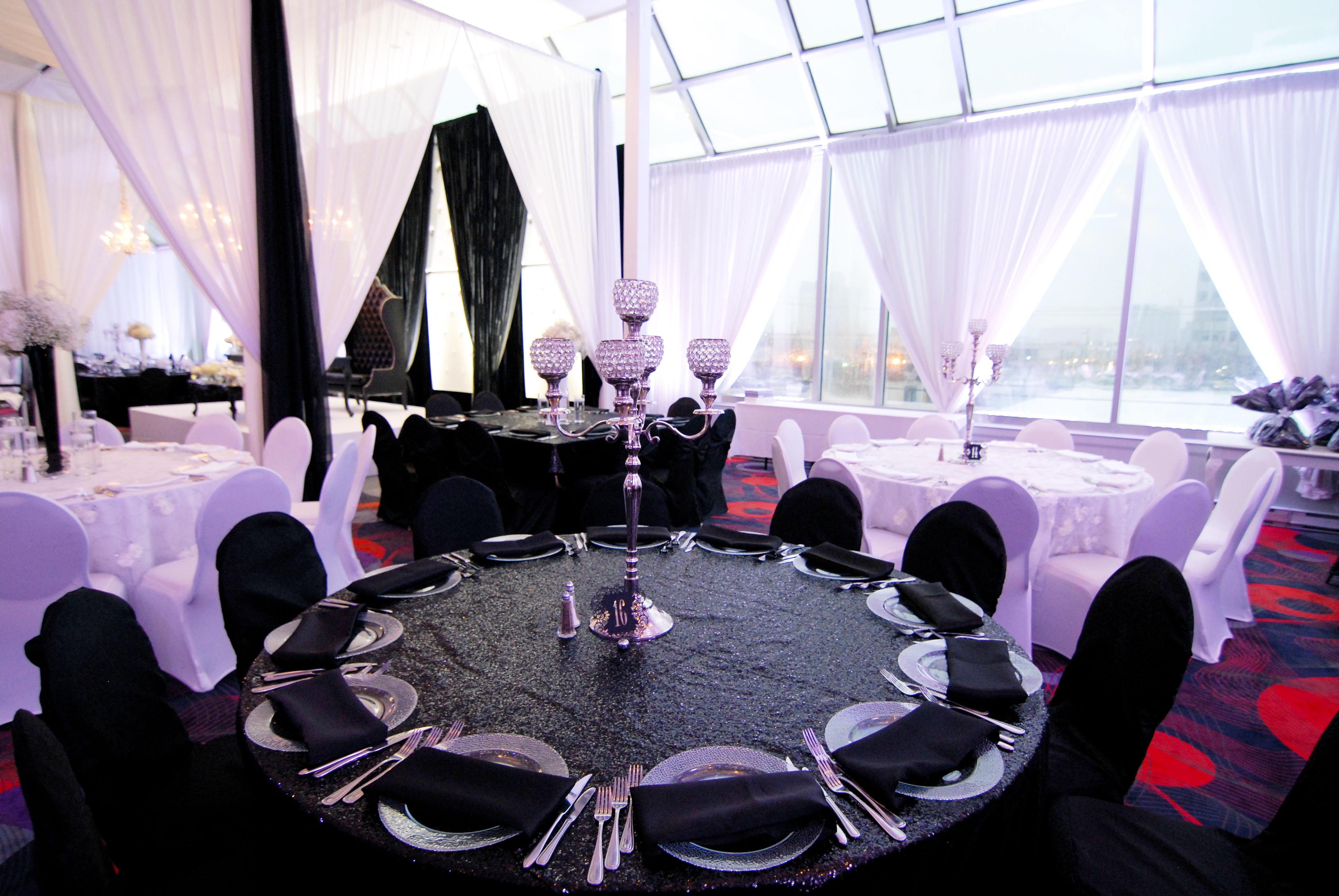 Black spandex chair covers