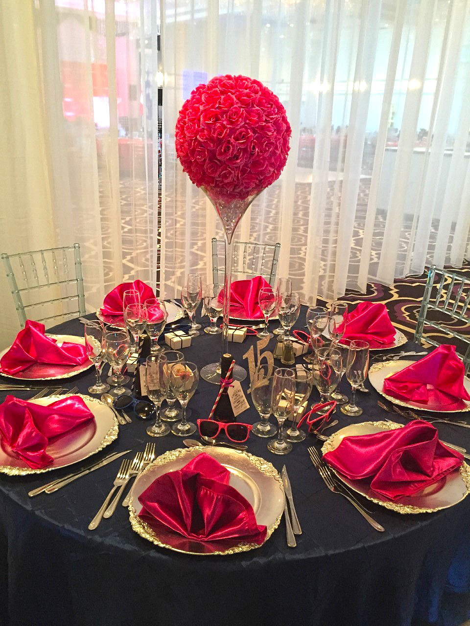 Hot pink rose ball