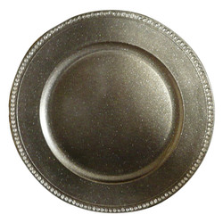 Silver charger plate with detail