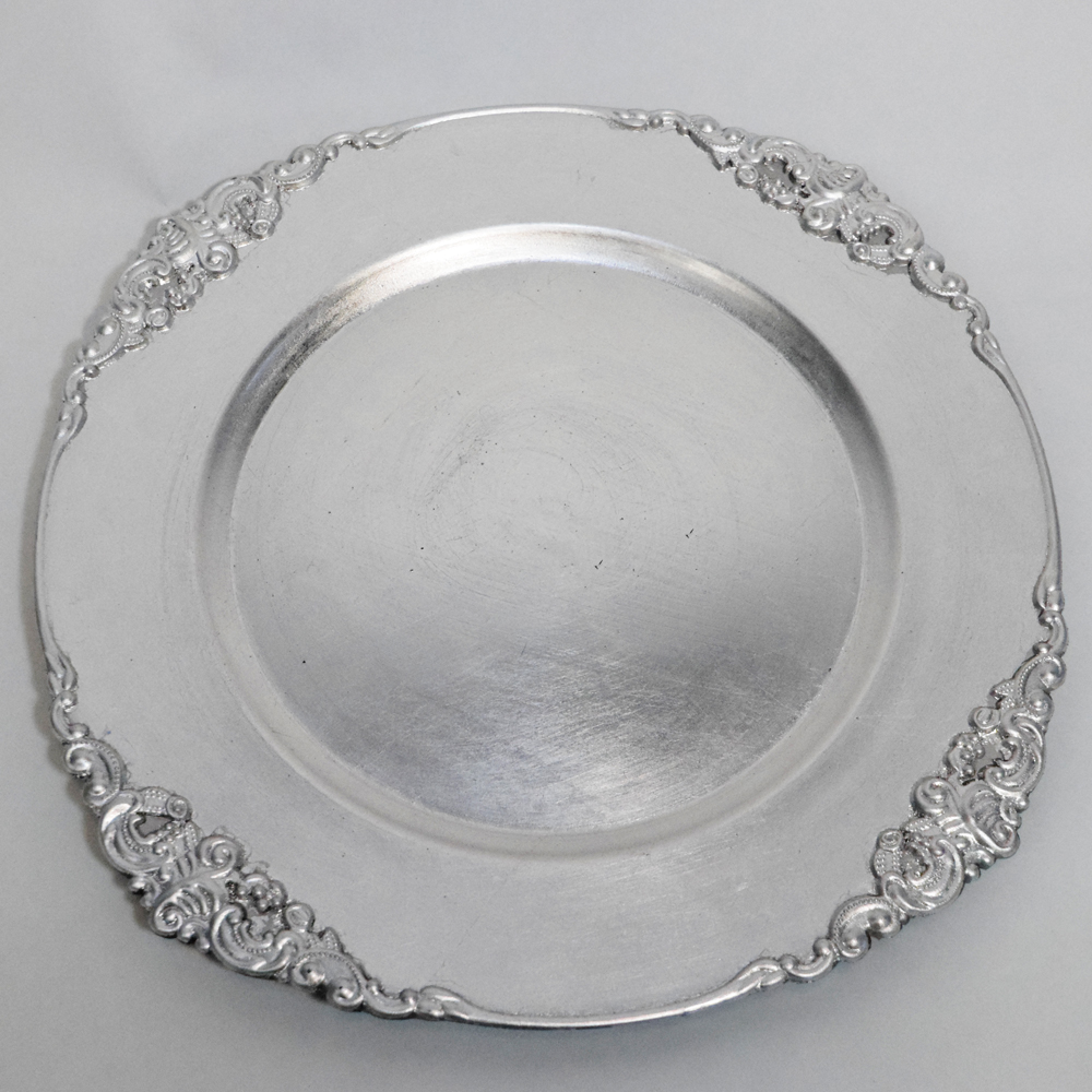 Silver Baroque Charger Plate