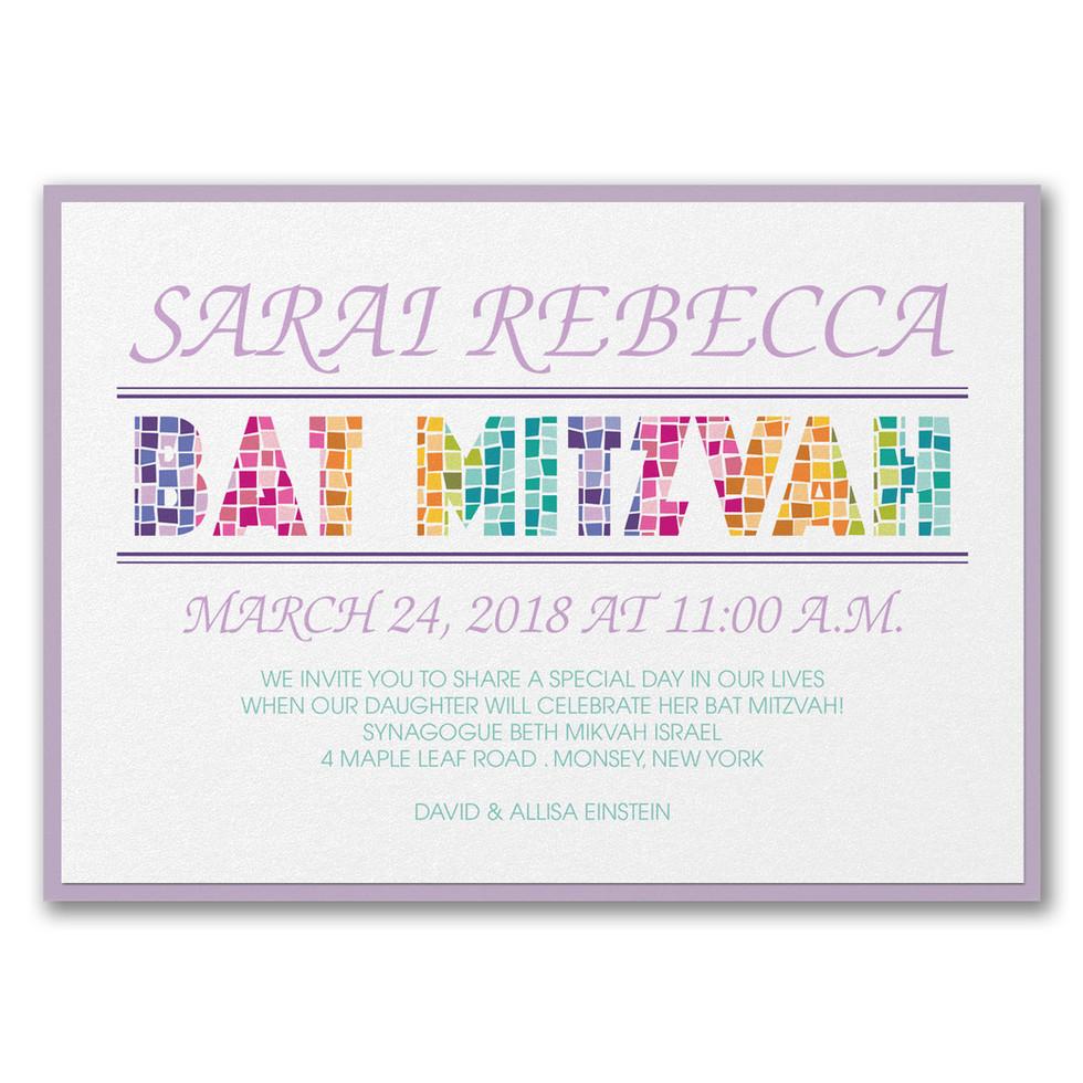 Bat Mitzvah invitation - Mosaic