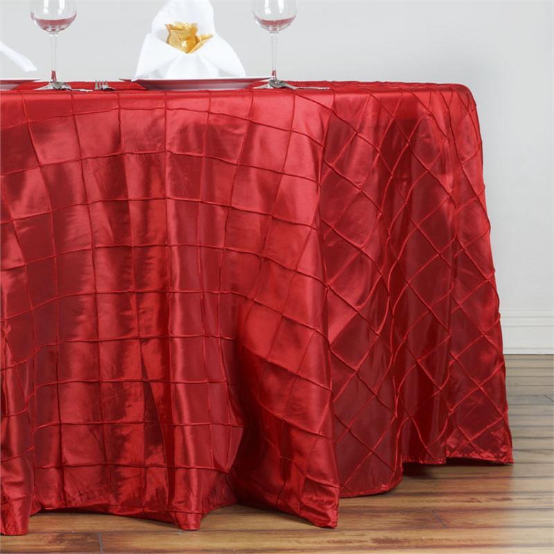 Red Pintuck Taffeta Tablecloth