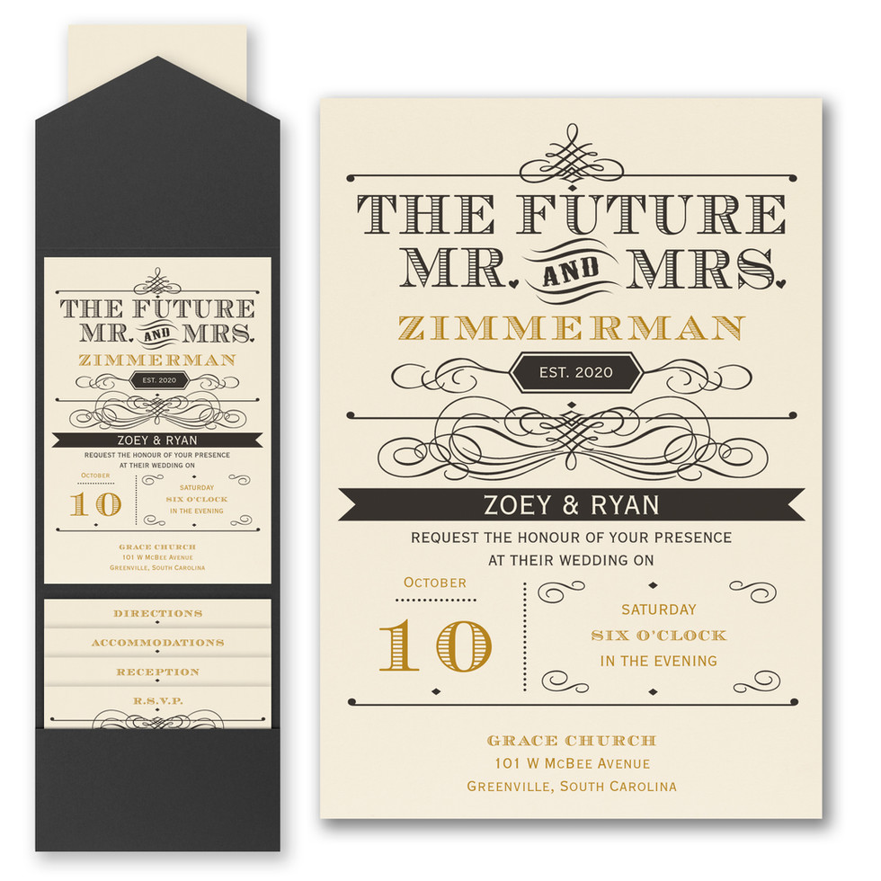 Wedding invitation with a modern style