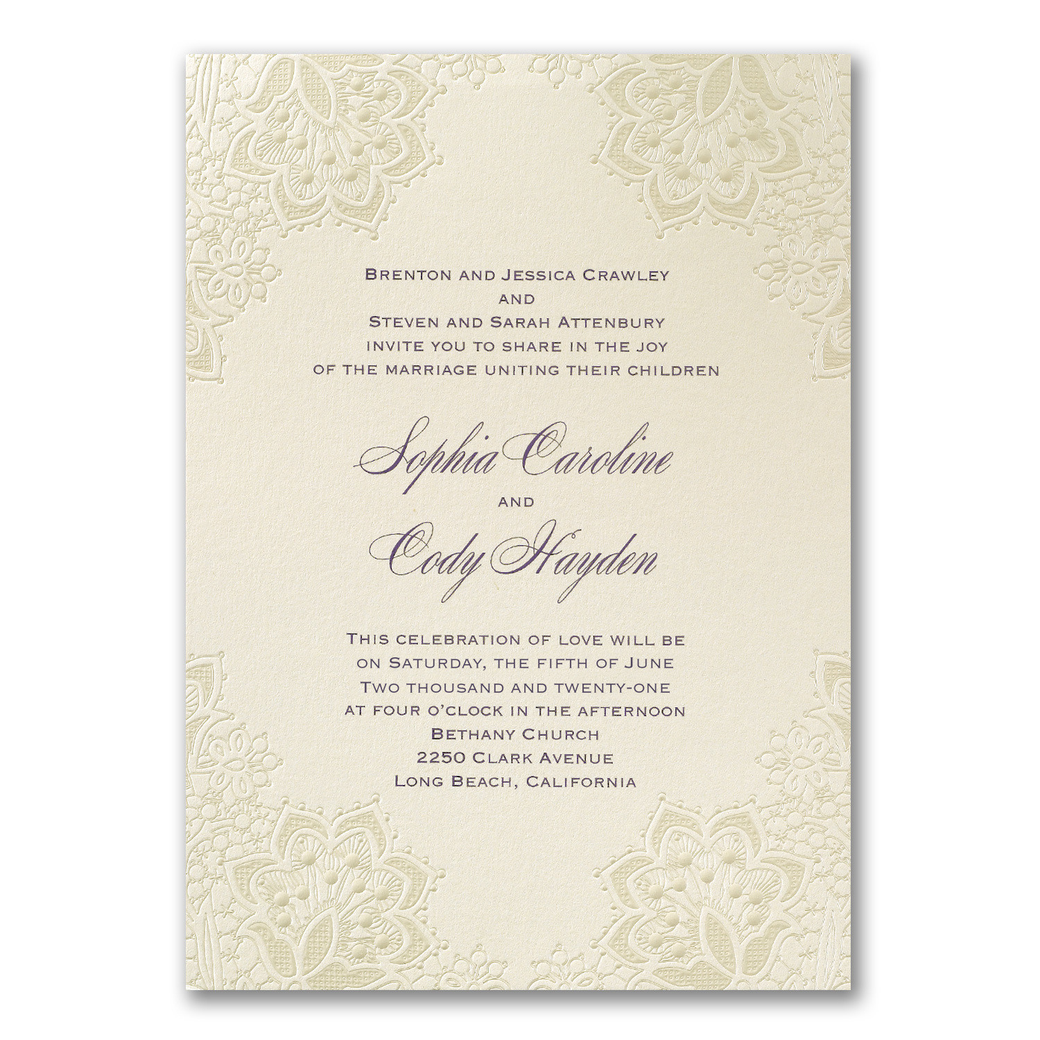 Wedding invitation with pearl shimmer