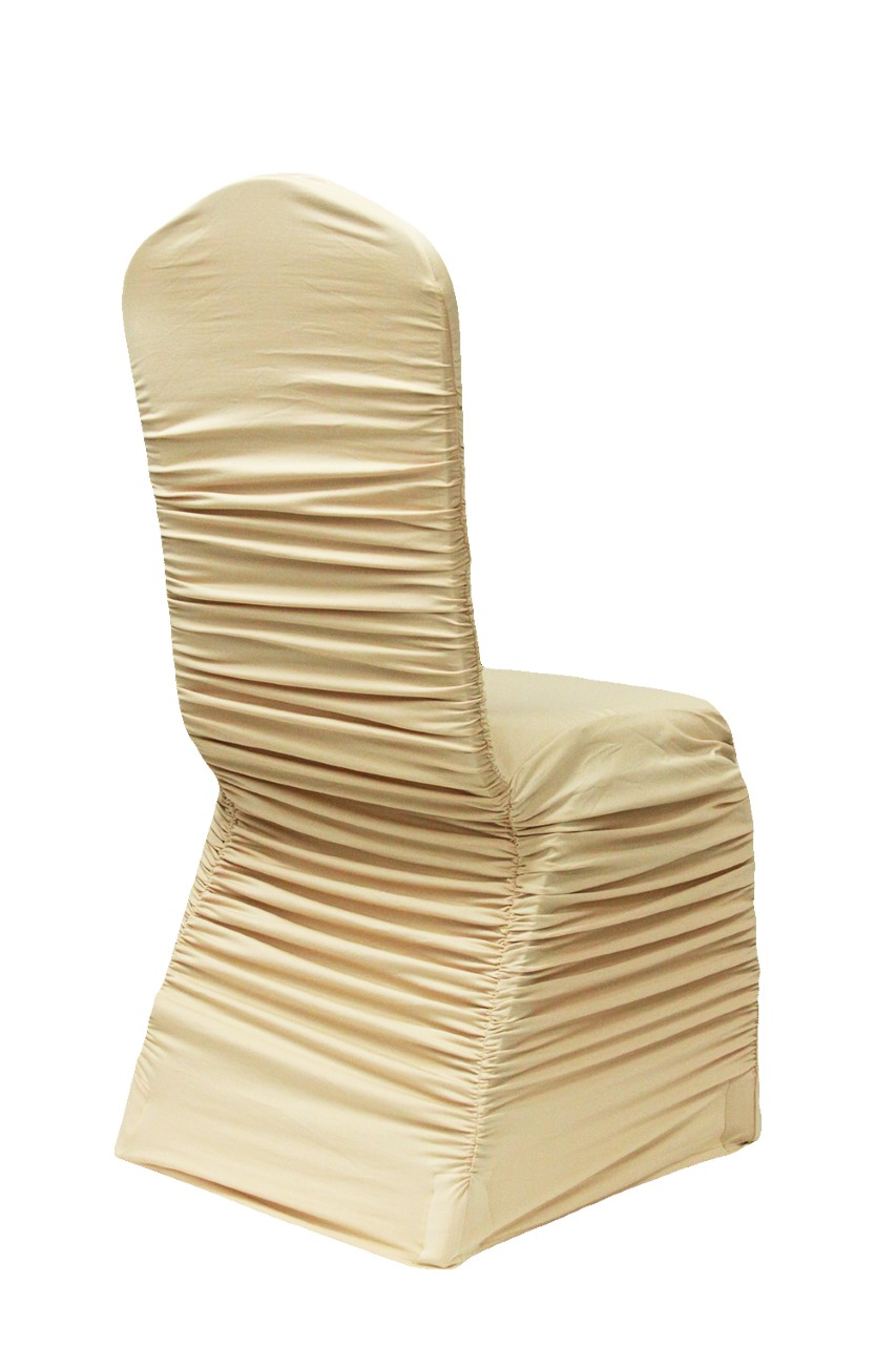 Gold ruched chair cover