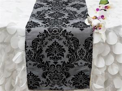 Black and white table runner with a