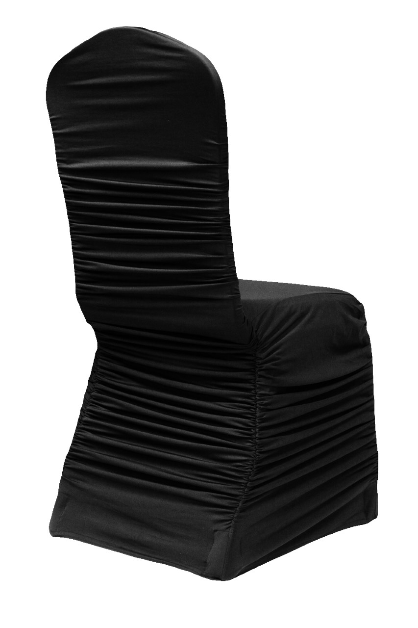 Black ruched chair cover