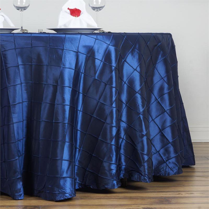 Navy Blue Pintuck Taffeta Tablecloth