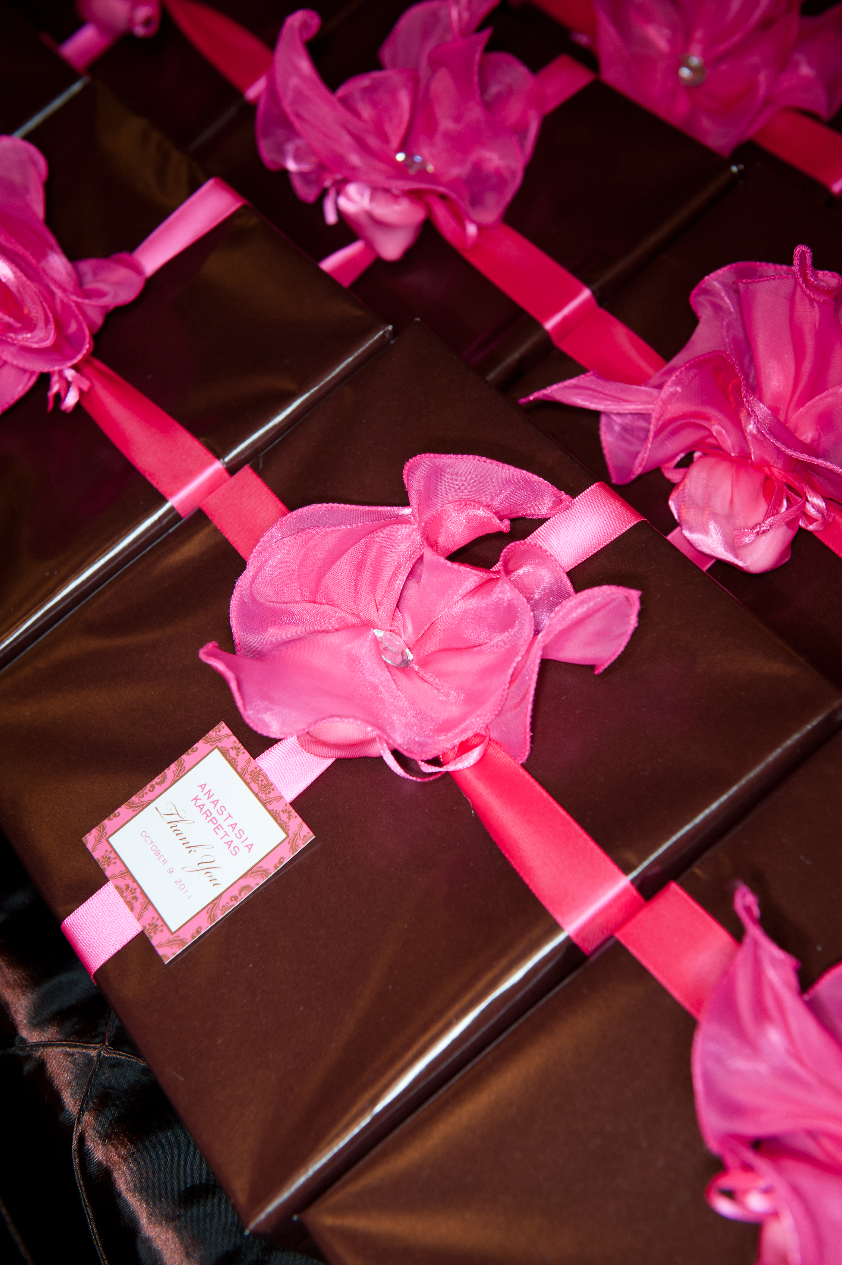 Brown and Fuschia party favors