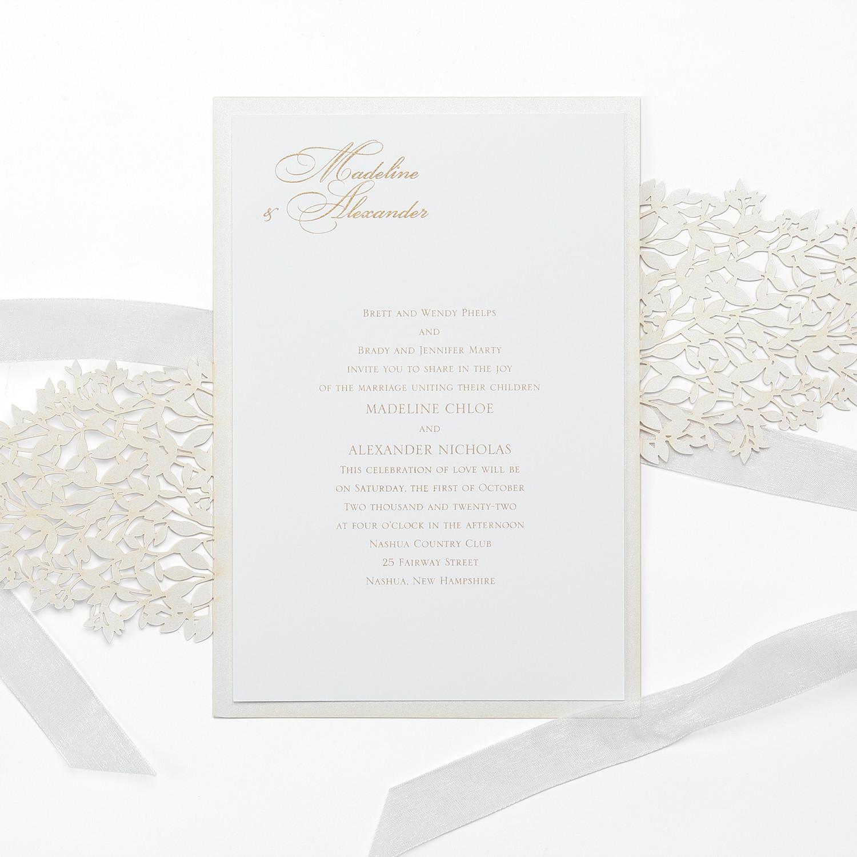 Wedding invitation with greenery pattern