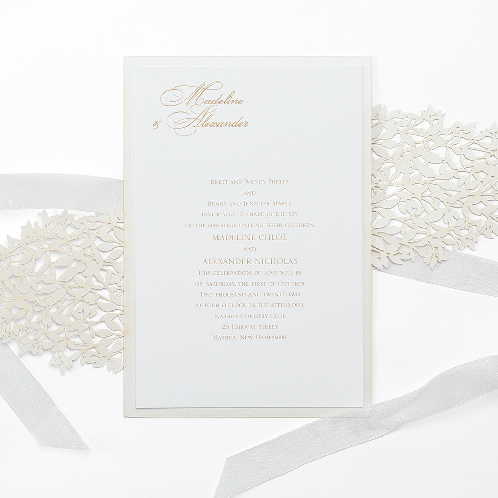 Wedding invitation with greenery pattern