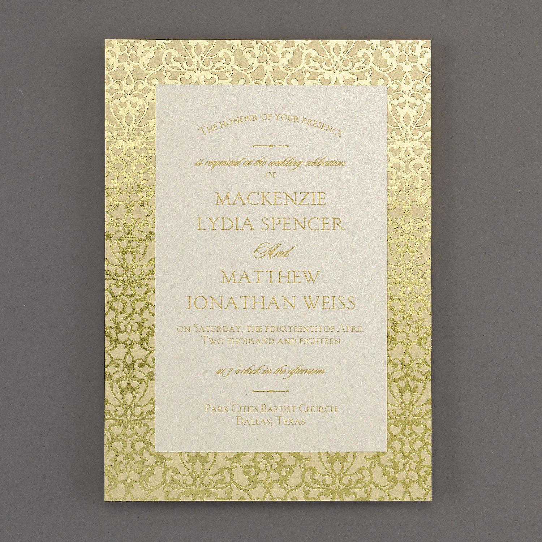 Wedding invitation with damask pattern