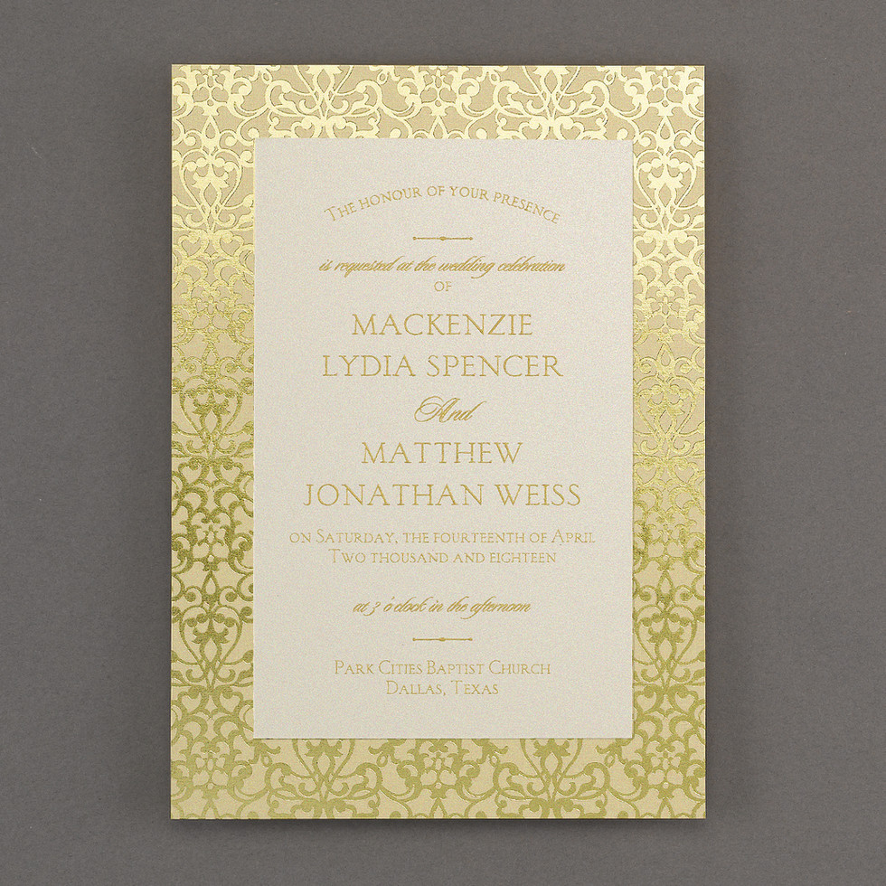 Wedding invitation with damask pattern