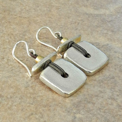 Large Silver Square Tile and Stick Earrings on Leather - Ambrosia Collection
