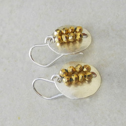 Silver Button Earrings with Golden Pyrite Beads - Roca Jewelry Designs