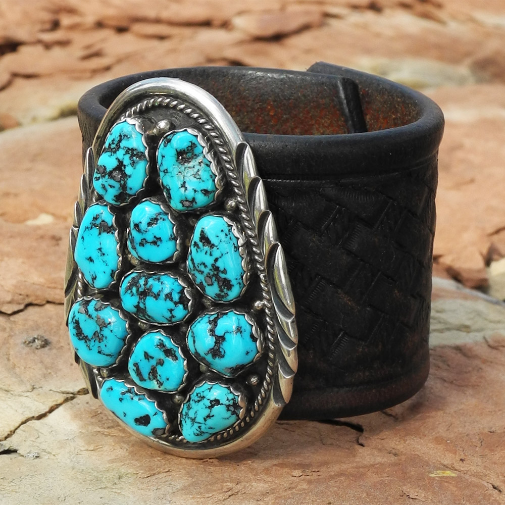 Sky Stone Leather Cuff Bracelet with Very Large Turquoise Pawn Piece - Roca Jewelry Designs