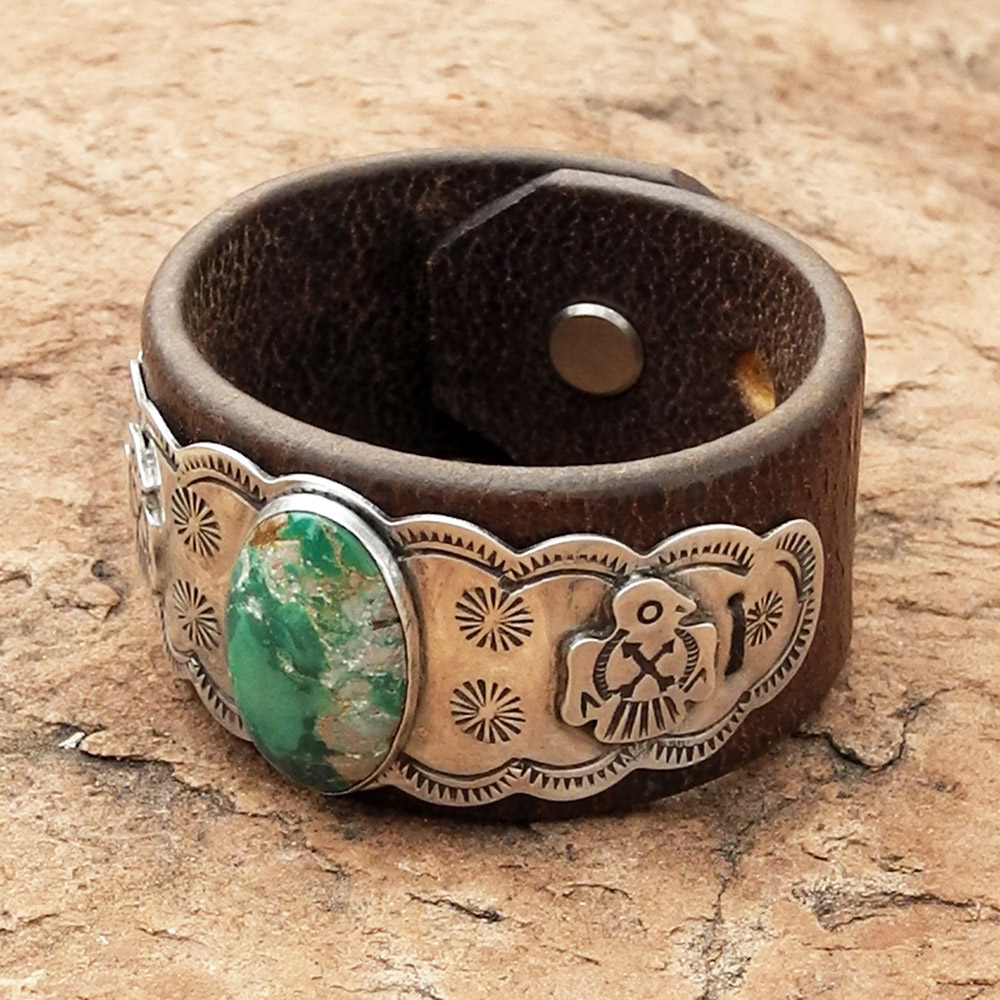 Leather Cuff Bracelet with Fred Harvey Pawn Piece - Roca Jewelry Designs