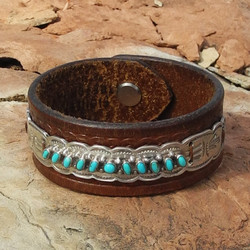 Sky Stone Leather and Turquoise Cuff Bracelet with Zuni Needlepoint Piece - Roca Jewelry Designs