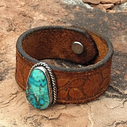 Leather Cuff Bracelet with Turquoise on Tooled Belt - Sky Stone Collection