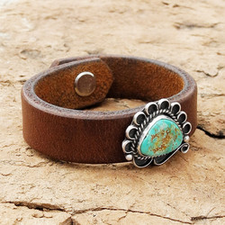 Rein Leather Cuff Bracelet with Turquoise Pawn Piece -  Roca Jewelry Designs
