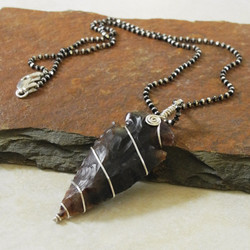 Simple Silver Wrapped Brown Agate Arrowhead with Ruthenium Chain - Roca Jewelry Designs