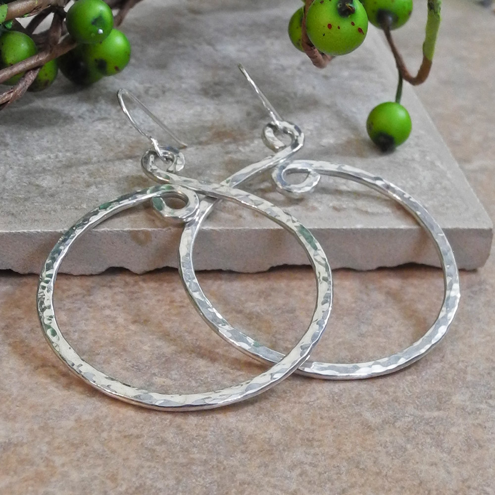 Medium Hammered Heavy Gauge Sterling Hoop Earrings - Roca Jewelry Designs