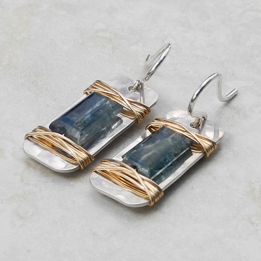 Hammered Silver Rectangular Earrings with Gold Wired Kyanite - Roca Jewelry Designs
