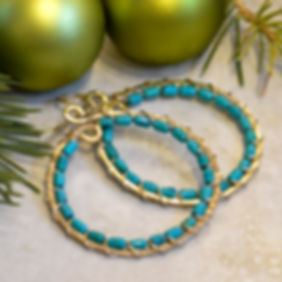 Medium Gold Hammered Hoops Lined with Ri