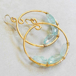 Large Hammered Gold Hoop Earrings Wired with Aquamarine Nuggets - Roca Jewelry Designs