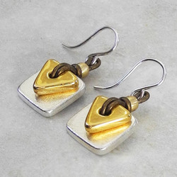 Silver Square and Gold Triangle Earrings on Leather - Roca Jewelry Designs
