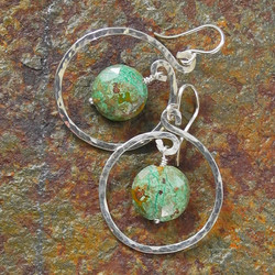 Hammered Sterling Silver Hoop Earrings with Chrysocolla Drops - Hammered Collection