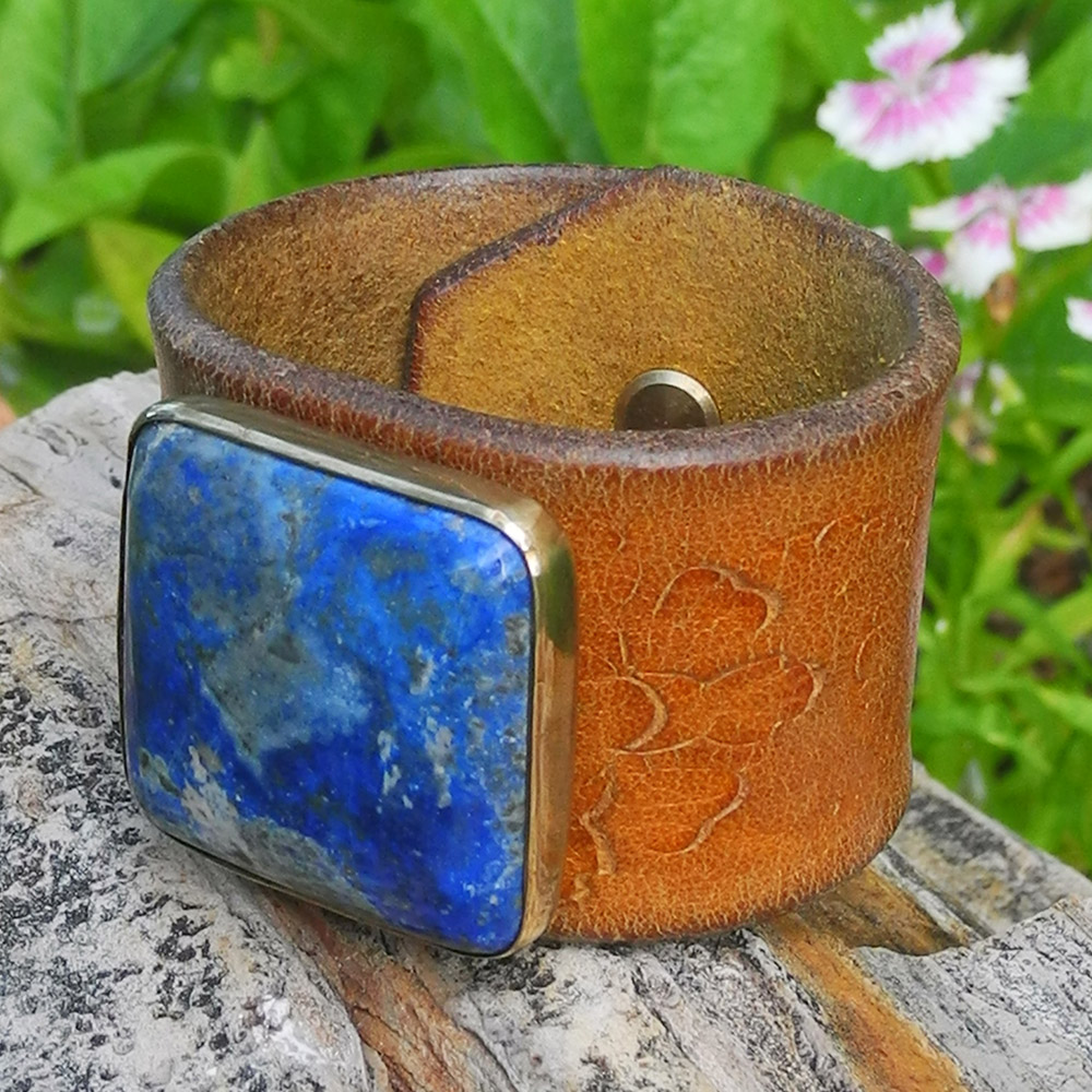 Leather Cuff Bracelet with Square Lapis & Brass - Roca Jewelry Designs