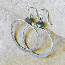 Hammered Silver Oval Hoop Earrings with Faceted Labradorite - Roca Jewelry Designs