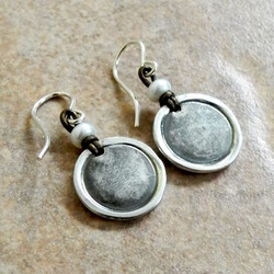 Round PMC Oxidized Sterling Disc Earrings with White Pearl on Leather - PMC Sterling Collection