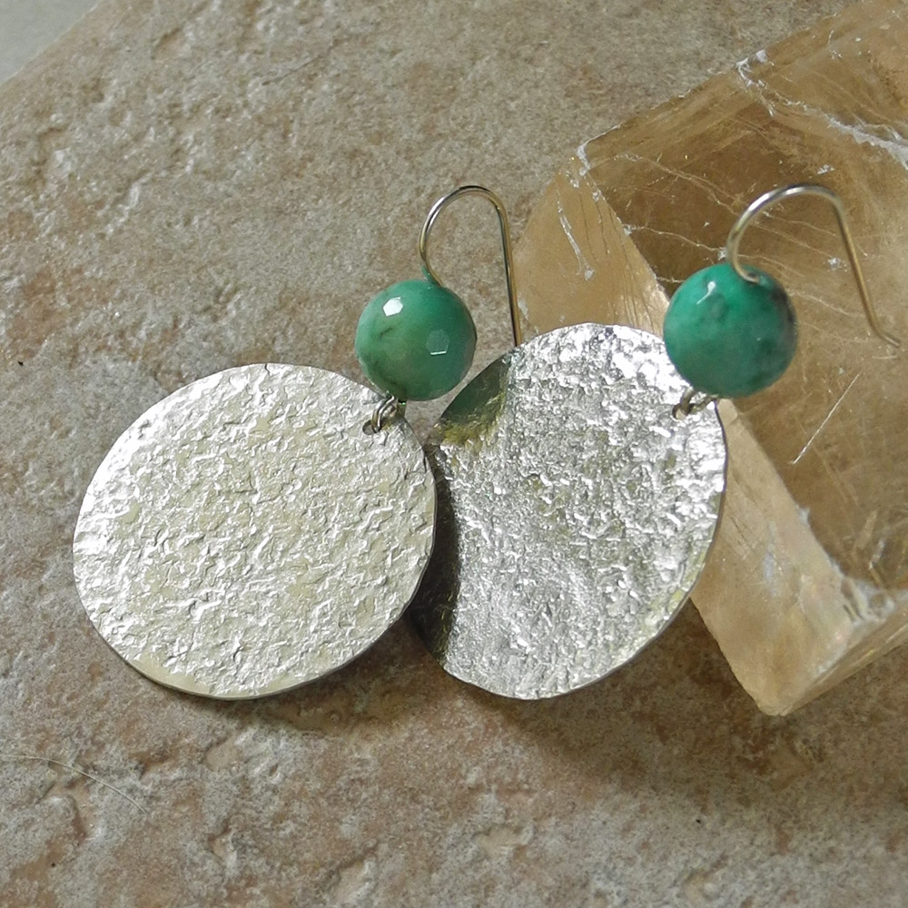 Large Textured Sterling Silver Disc Earrings with Faceted Chrysoprase - Hammered Earrings