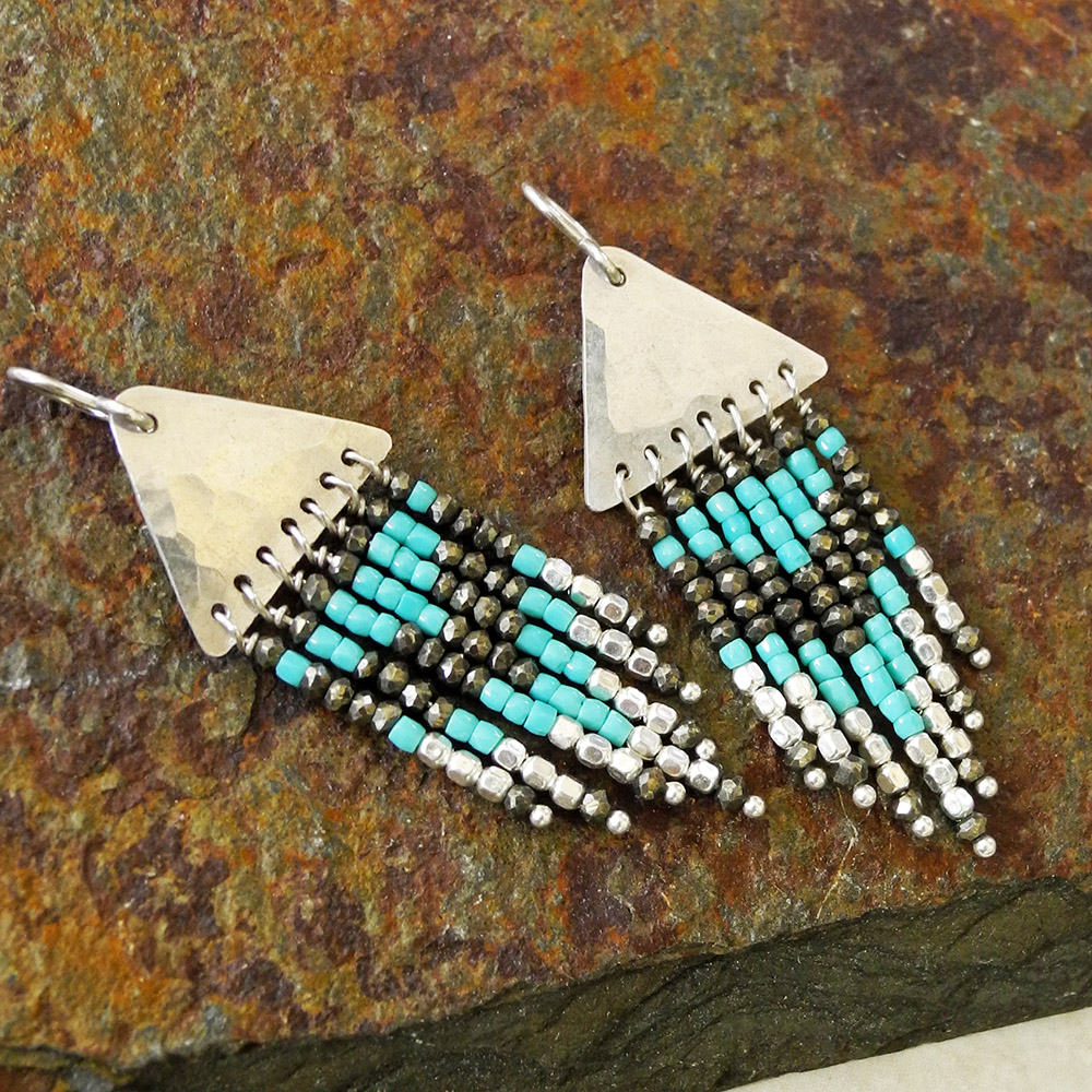 PMC Sterling Hammered Fringe Earrings with Pyrite and Turquoise Seed Beads - Roca Jewelry Designs