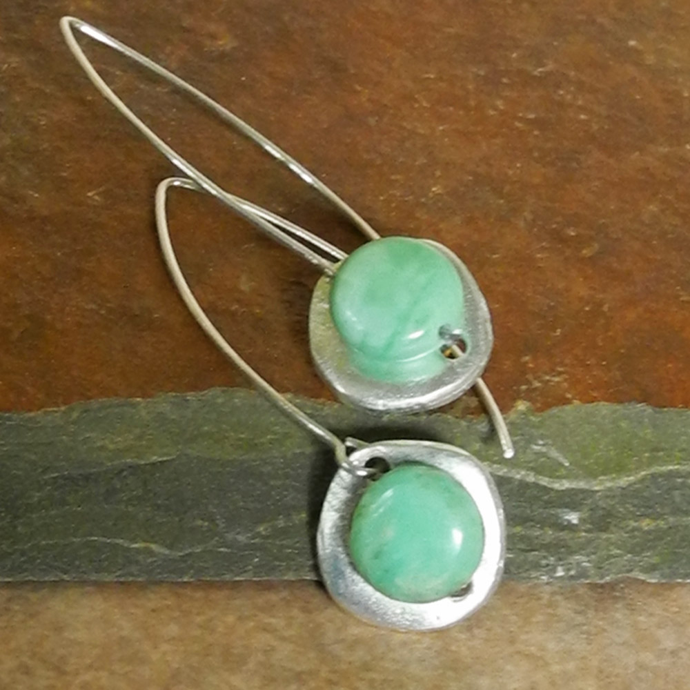 Silver Button Bead Earrings with Green Turquoise on Marquis Wires - Ambrosia Collection