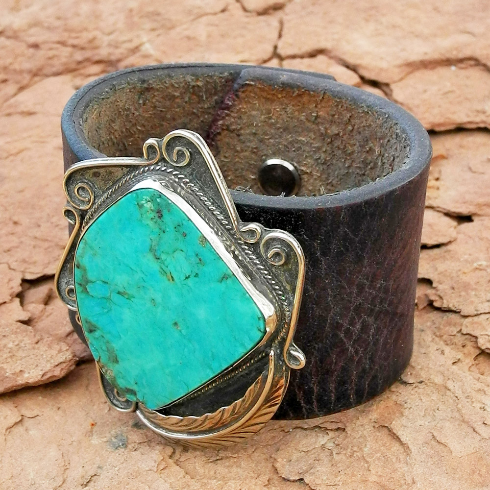 Leather Cuff Bracelet with Fabulous Turquoise Pawn Piece - Sky Stone Collection