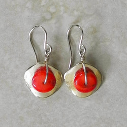 Single Silver Cornflake Earrings with Coral - Ambrosia Collection