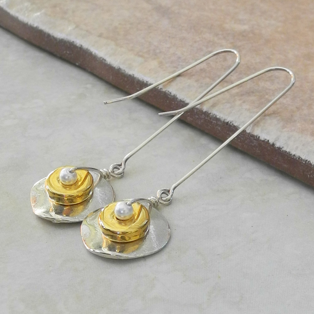 Layered Silver and Gold Disc Earring with White Pearl on Long Wires - Roca Jewelry Designs