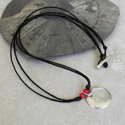 Large Silver Charm Necklace with Coral - Ambrosia Collection