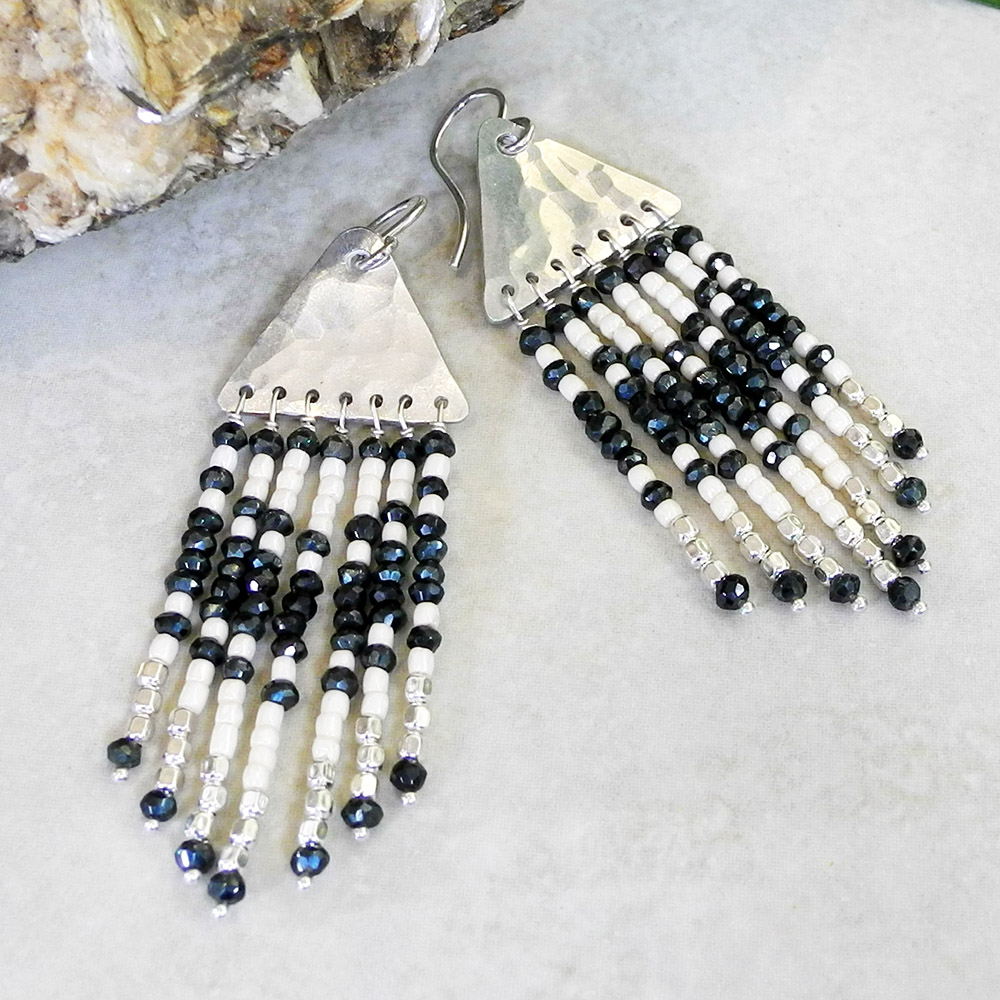 Hammered PMC Sterling Fringe Earrings with Spinel and Seed Beads - PMC Sterling Collection