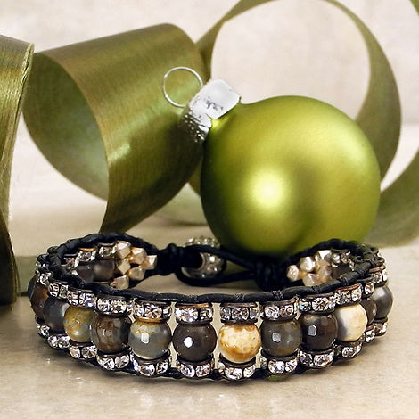 Woven Single Wrap Bracelet with Agate an