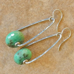 Hammered Sterling Silver Triangle Dangle Earrings with Chrysoprase - Hammered Collection