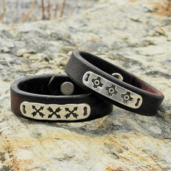 PMC Sterling and Leather Cuff Bracelets with Native American Symbols - Roca Jewelry Designs
