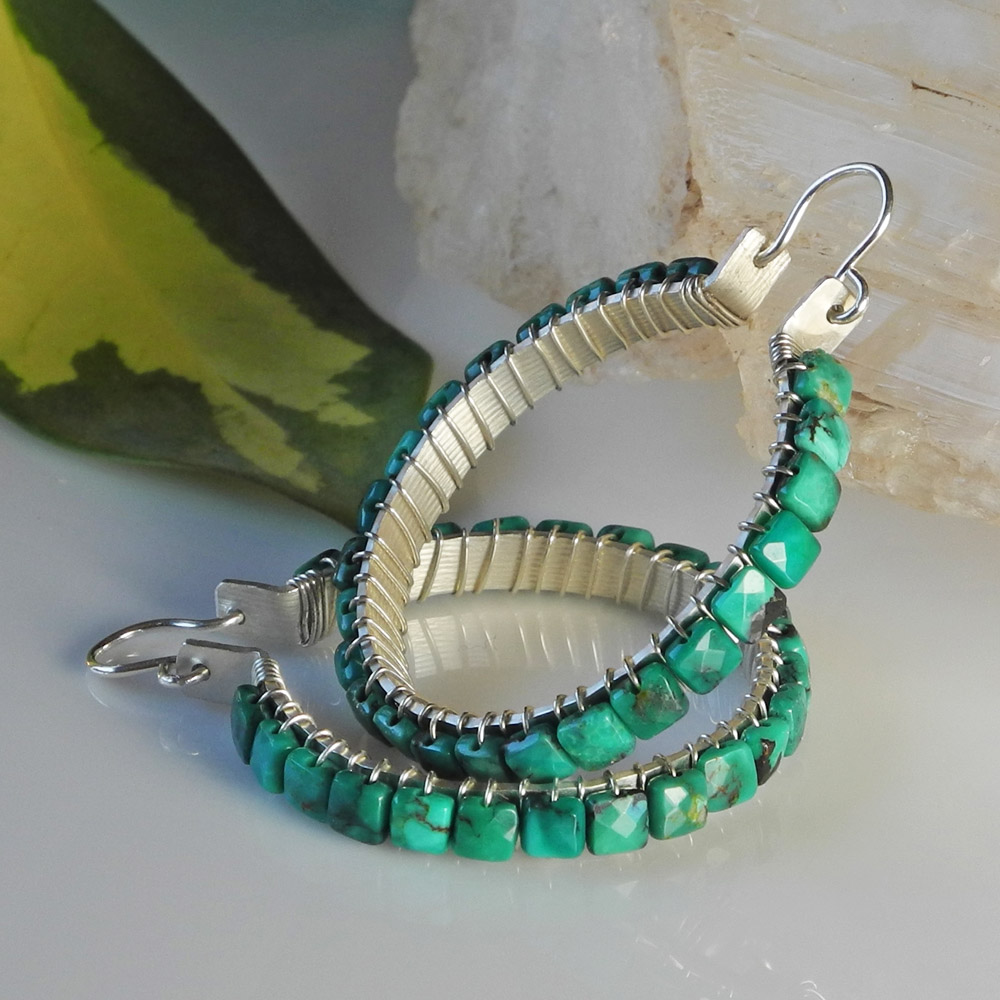 Hammered Sterling Silver Hoops Wired With Faceted Turquoise Cubes - Roca Jewelry Designs