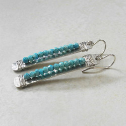 Hammered Silver Rectangle Earrings Wired with Turquoise - Hammered Collection